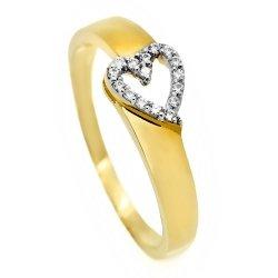 Złoty pierścionek 585 serduszko z cyrkoniami