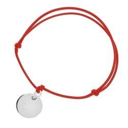 Bransoletka srebrna 925 na sznureczku z grawerowaniem GRATIS! 3 symbole do wyboru SERCE / KÓŁKO / PUZZEL