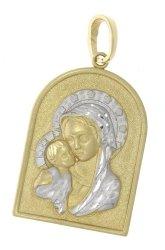 Złota zawieszka z wizerunkiem Matki Boskiej 585 etui dedykacja gratis