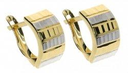 Kolczyki złote 585 diamentowane i rodowane 2 kolory etui
