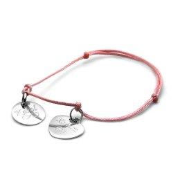 Bransoletka srebrna 925 na sznureczku z  dwiema zawieszkami grawerowani GRATIS!