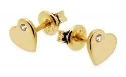 Złote kolczyki 585 serduszka z cyrkoniami