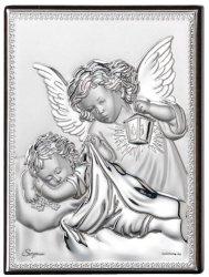 Aniołki chrzest srebrny obrazek Ryngraf urodziny