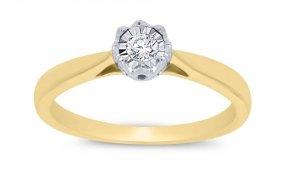 Dwukolorowy złoty pierścionek zaręczynowy 585 z brylantem 0,09ct