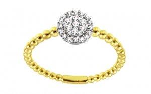 Nietypowy złoty pierścionek zaręczynowy 585 z brylantem 0,1ct