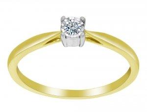 Złoty pierścionek zaręczynowy białe i żółte złoto 585 z brylantem 0,09ct