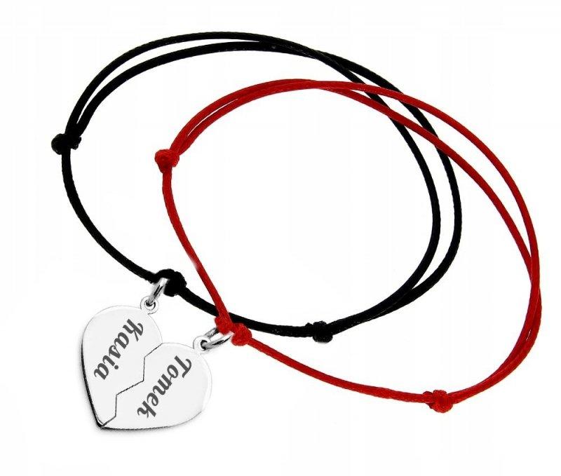 Srebrna bransoletka grawerowana serce łamane 925 + dwa rzemyki