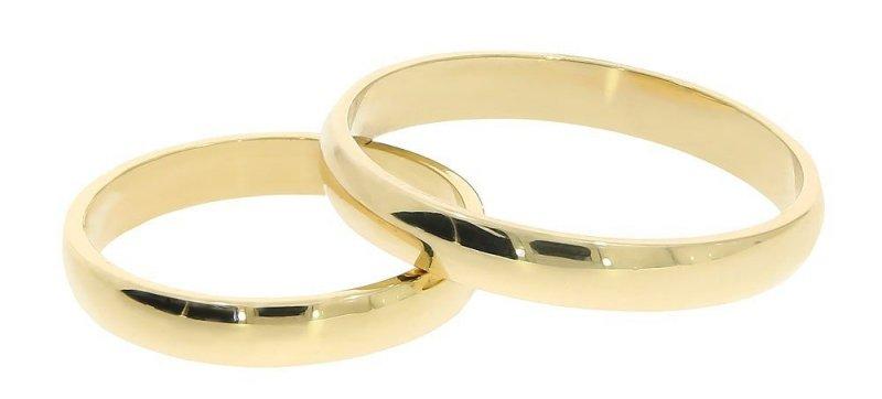 Obrączki ślubne złote 585 półokrągłe klasyczne 3 mm