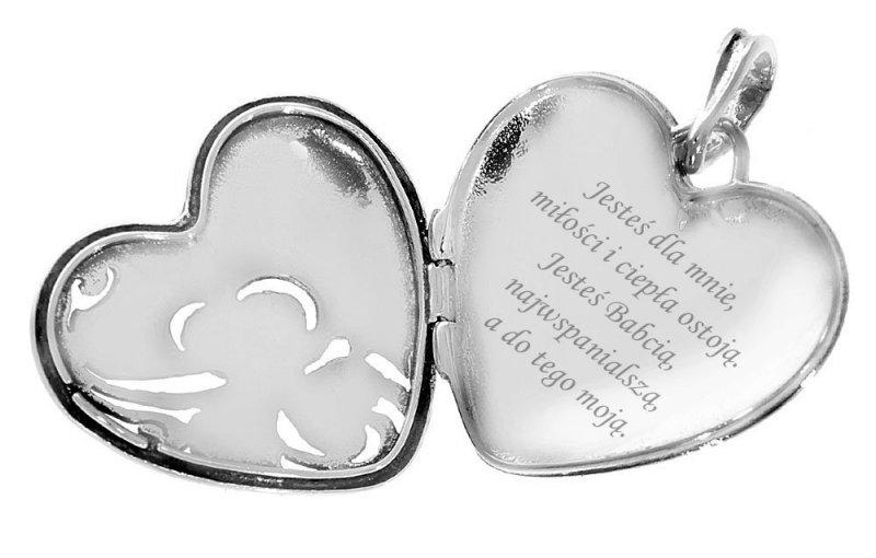 Srebrny sekretnik zawieszka 925 serce