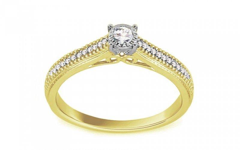 Pierścionek zaręczynowy 585 złoto w dwóch kolorach 0,18ct