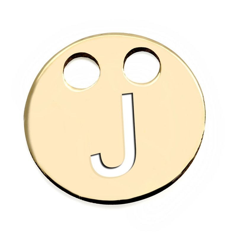 Złota zawieszka 585 kółeczko z literką J do celebrytki
