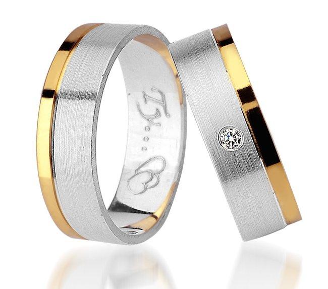 Srebrno-złote obrączki 925 585 z cyrkonią SWAROVSKI srebrne złote z paskiem