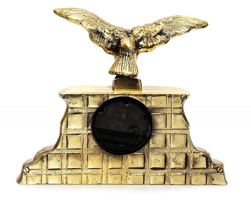Mosiężny zegar stojący z orłem | kominkowy | biurkowy