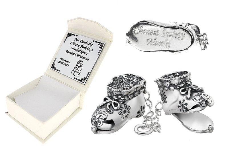 Buciki srebrne 925 na chrzest / roczek grawerowane pamiątka