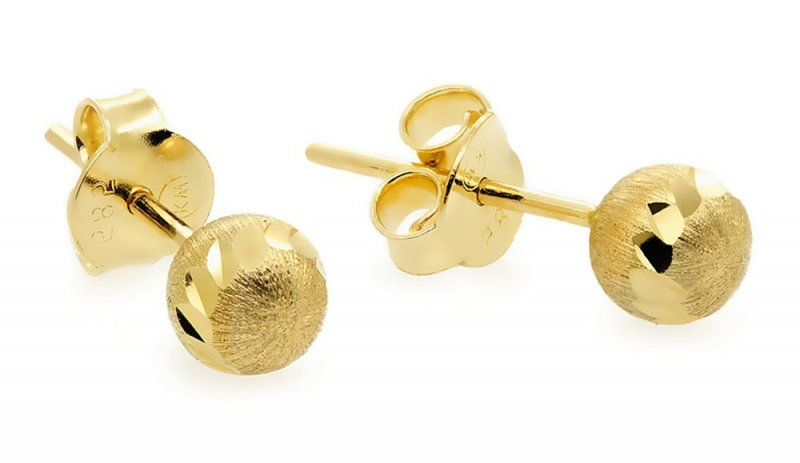 Złote kolczyki 585 matowe kuleczki