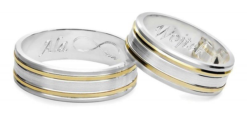 Ślubne obrączki Srebrno-złote obrączki 925 585 grawer gratis