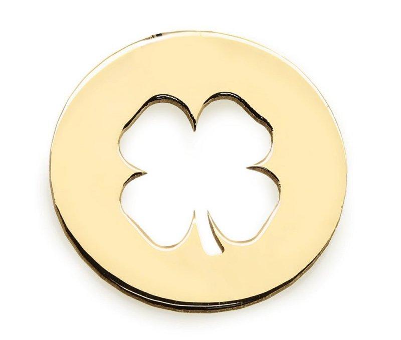 Złota zawieszka 585 wycięta koniczynka do celebrytki | kółeczko