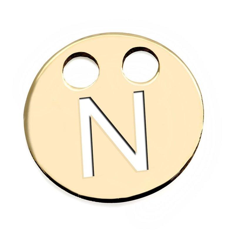 Złota zawieszka 585 kółeczko z literką N do celebrytki