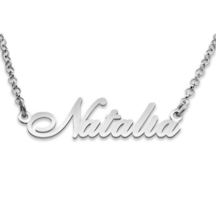 Srebrny napis Natalia - naszyjnik z imieniem , srebro 925