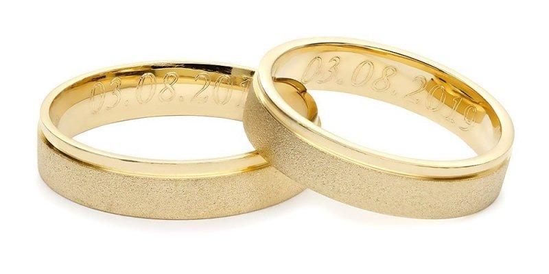 Obrączki ślubne złote 585 matowe płaskie 4,5 mm