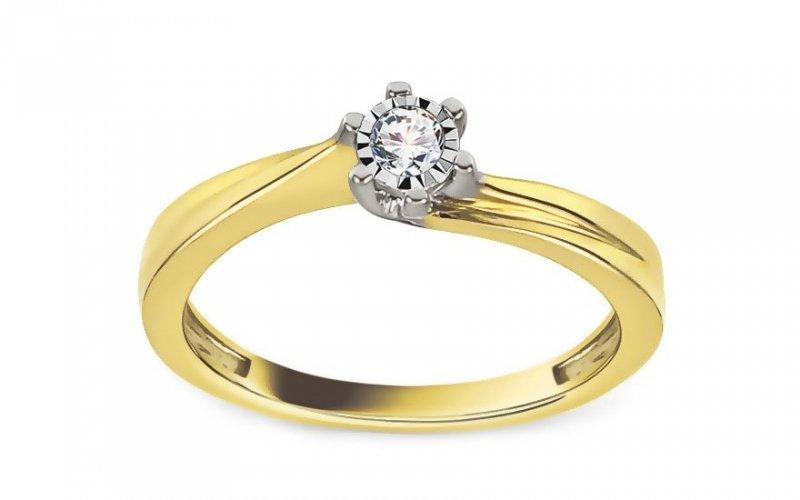 Pierścionek zaręczynowy 585 dwukolorowe złoto 0,09ct