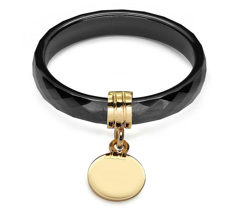 Ceramiczny pierścionek ze złotą zawieszką kółeczko 585