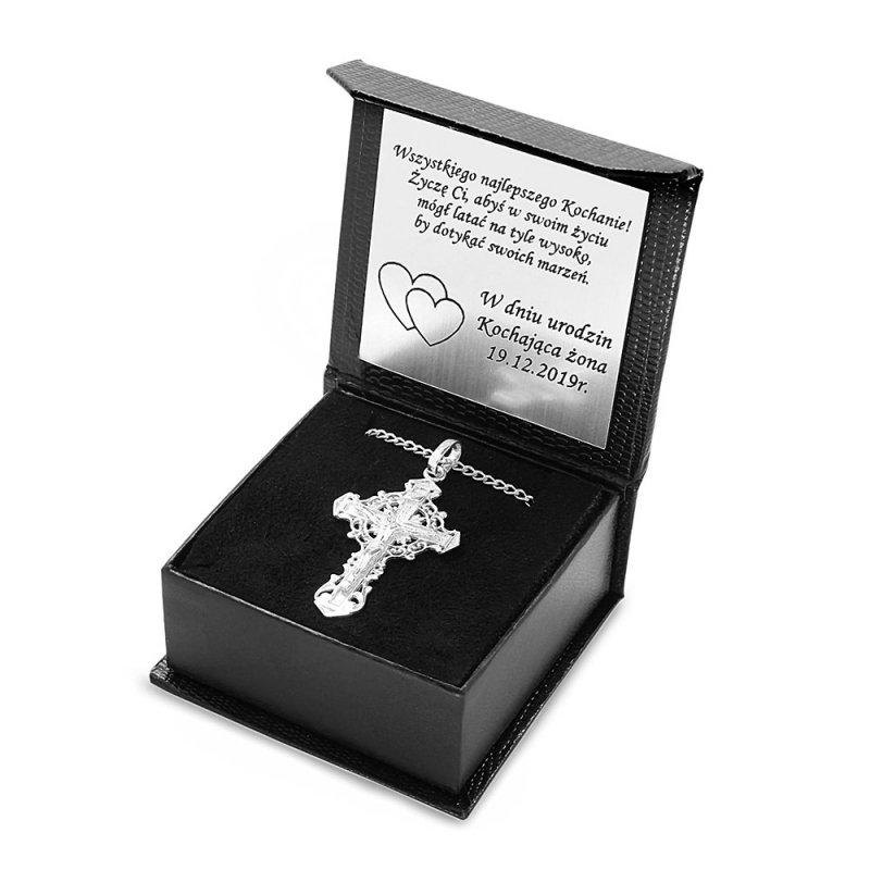 Srebrny krzyżyk męski z łańcuszkiem pancerka ETUI dedykacja 925