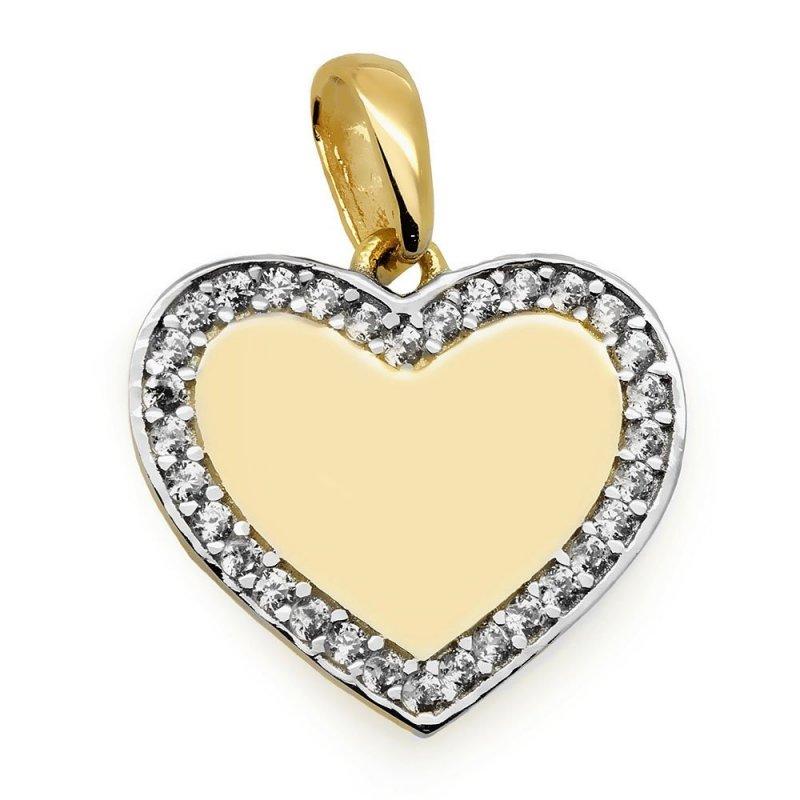Złota zawieszka 585 serce z cyrkoniami