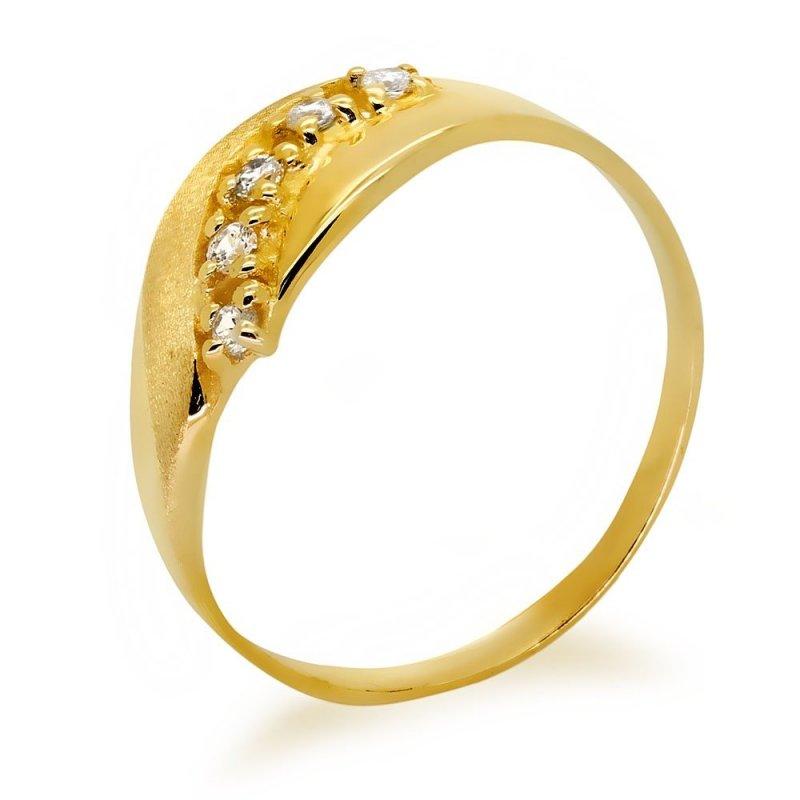 Złoty pierścionek 585 mat cyrkonie