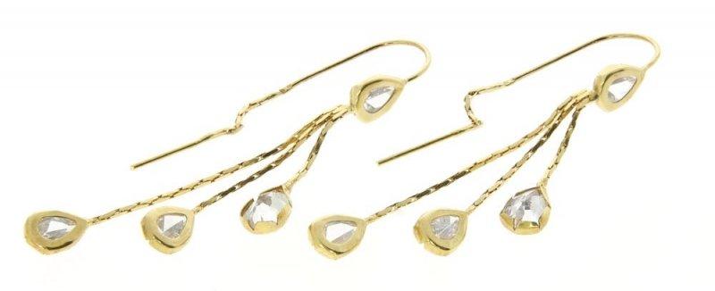 Kolczyki złote 585 cyrkonie łezki wiszące