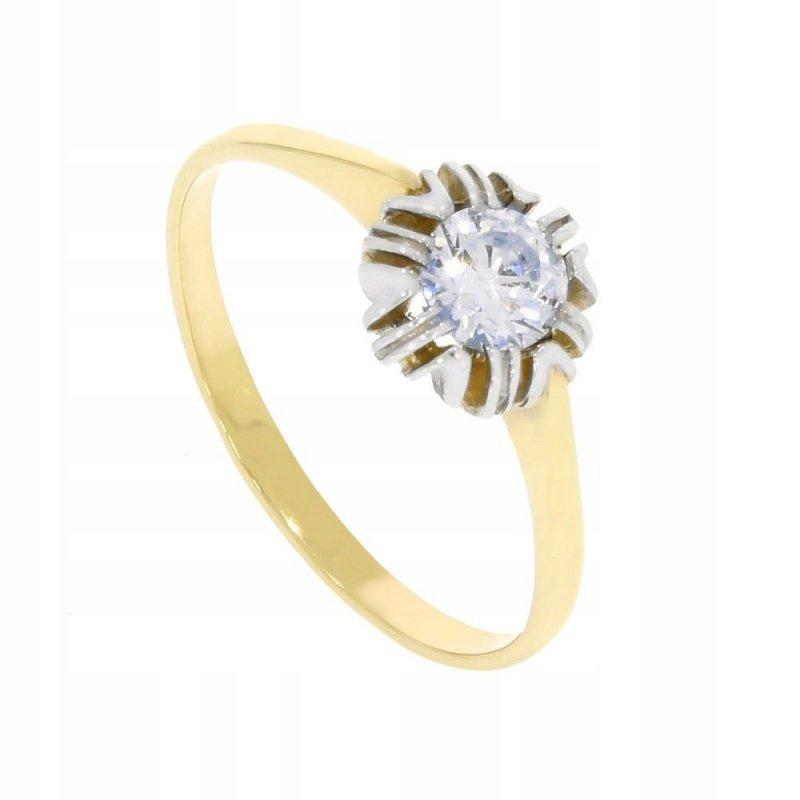 Złoty pierścionek 585 z cyrkonią 2 kolory