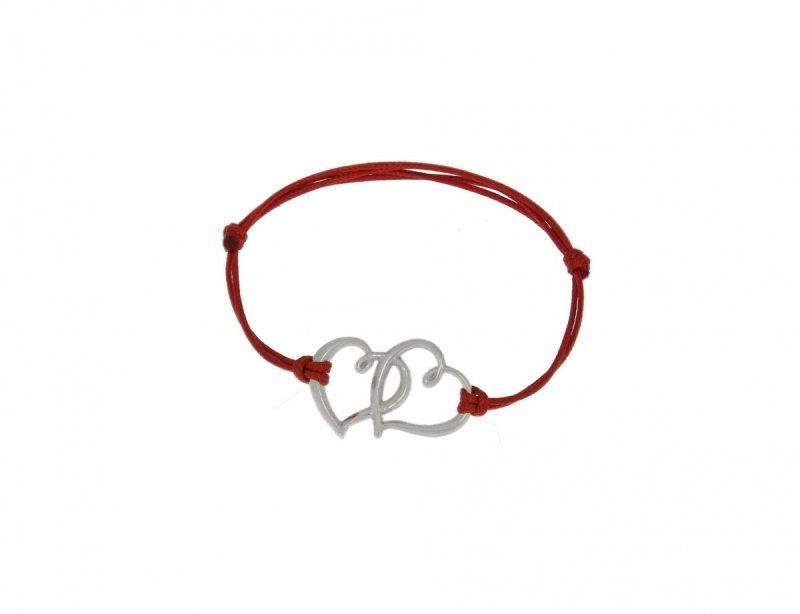"""Bransoletka srebrna 925 na rzemyku miłość """"LOVE"""" serca łączone"""