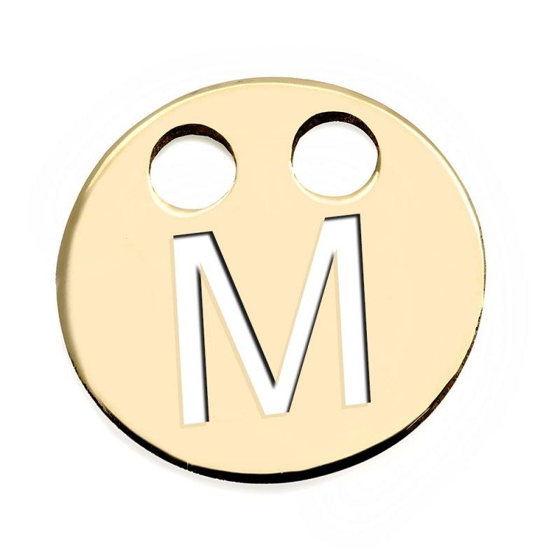 Złota zawieszka 585 kółeczko z literką M do celebrytki