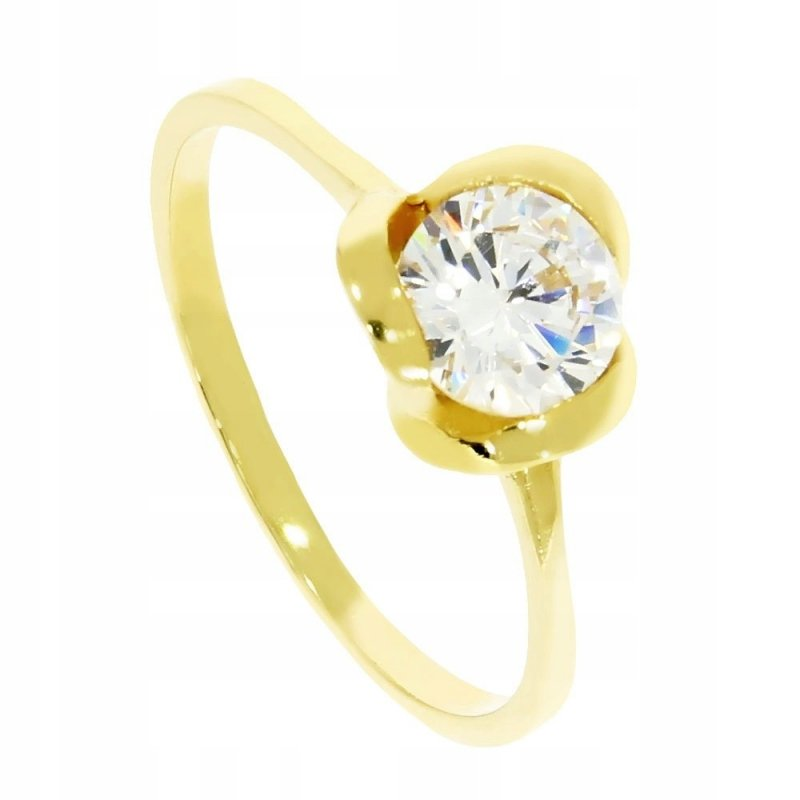 Złoty pierścionek 585 z cyrkonią