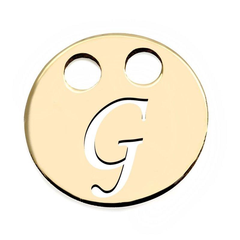 Złota zawieszka 585 kółeczko z literką G do celebrytki