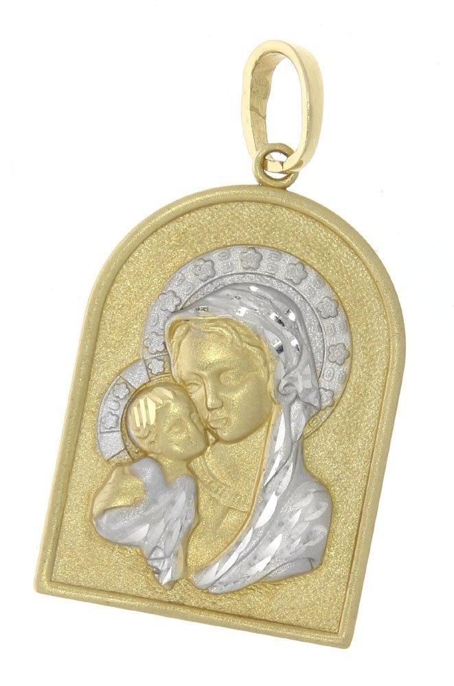 Medalik z wizerunkiem Matki Boskiej z Dzieciątkiem.