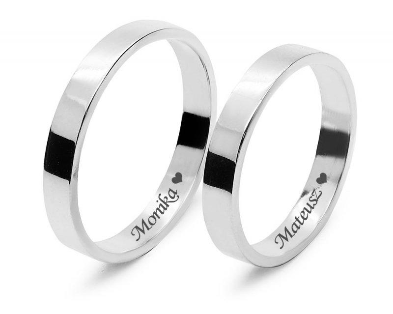 Ślubne obrączki srebrne 925 płaskie klasyczne 3 mm grawerowane