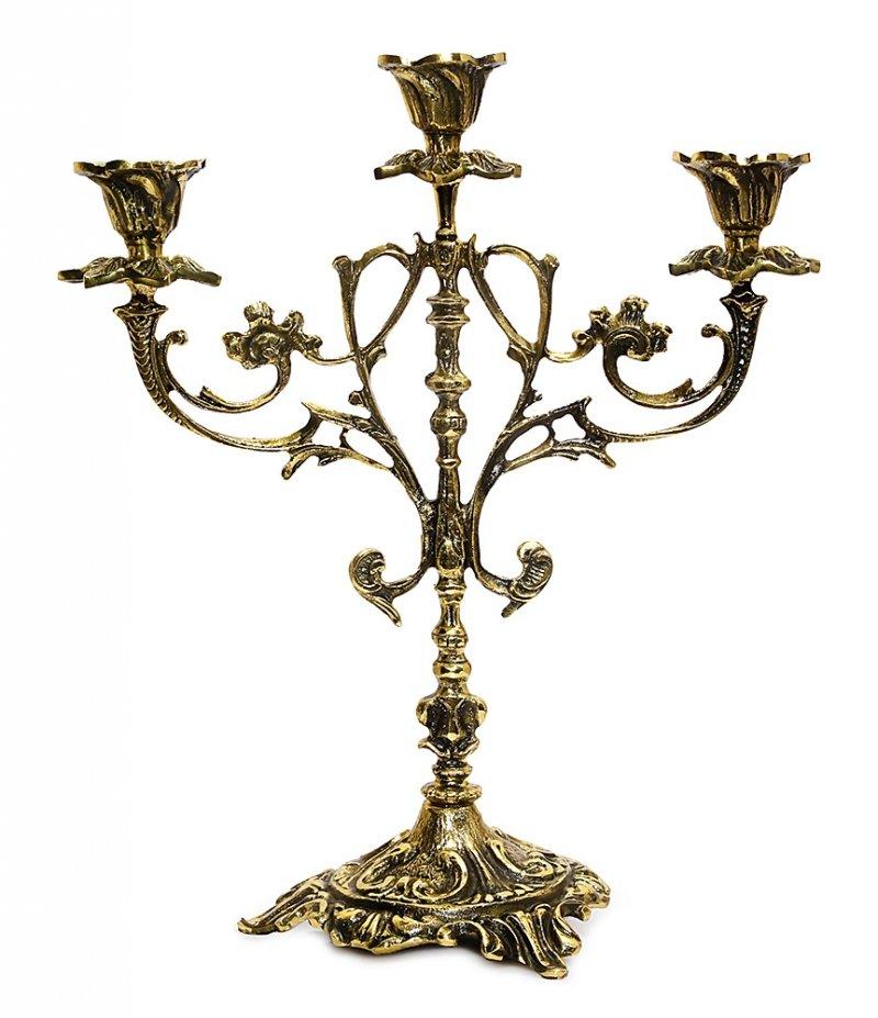 Mosiężny stylowy świecznik 3-ramienny Kandelabr