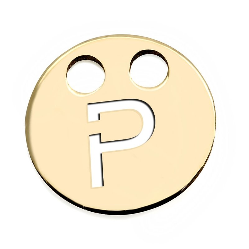 Złota zawieszka 585 kółeczko z literką P do celebrytki