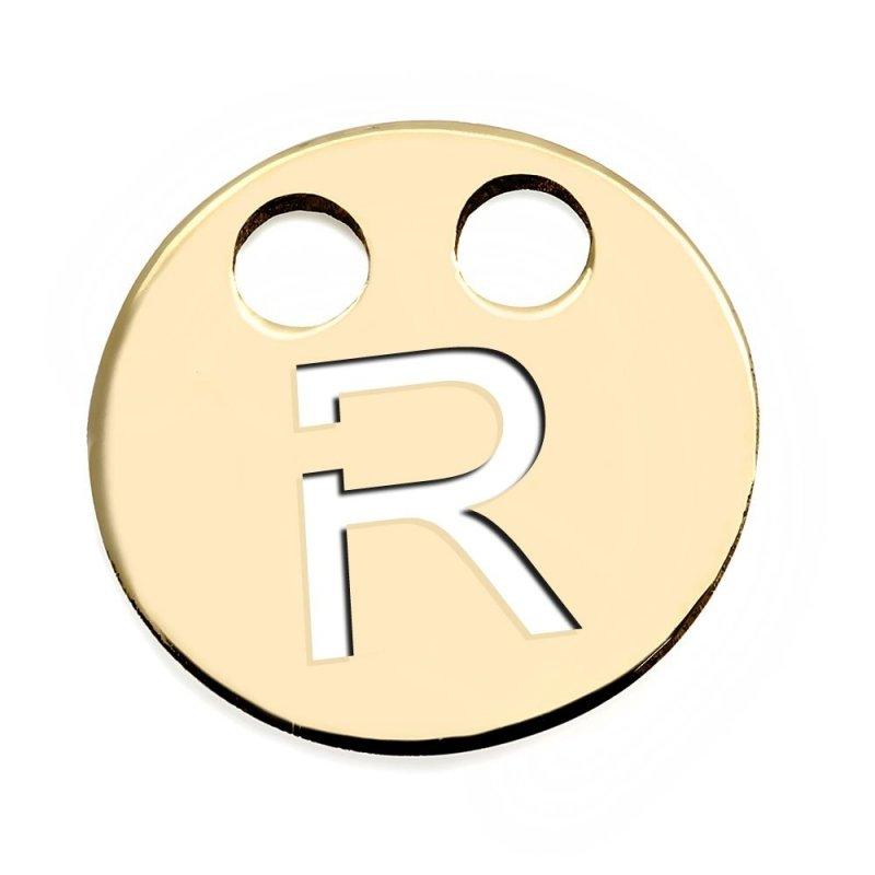 Złota zawieszka 585 kółeczko z literką R do celebrytki