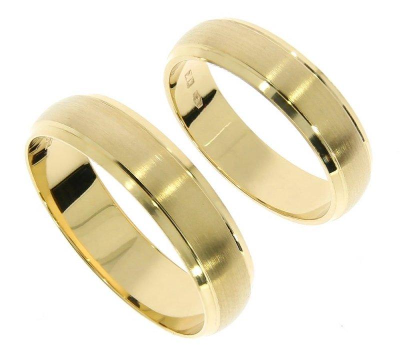 Obrączki ślubne złote 585 satyna półokrągłe 6,5 mm