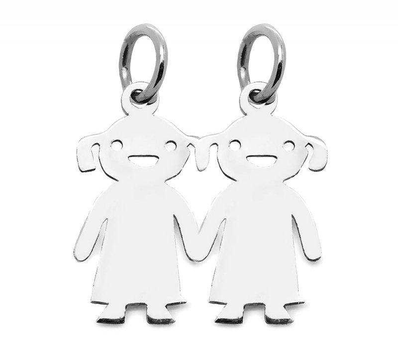 Srebrna zawieszka 925 dzieci dwie dziewczynki z grawerem | prezent dla mamy