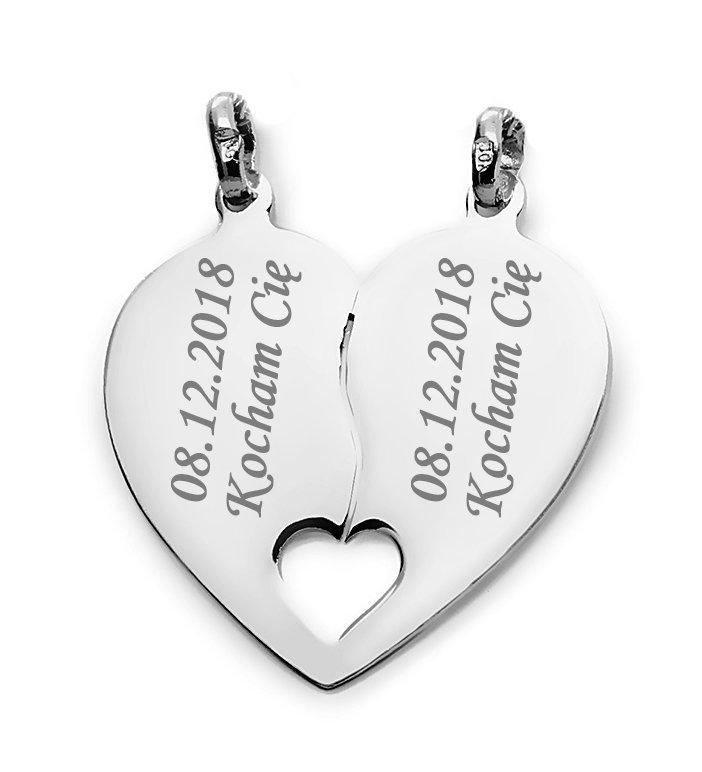 Srebrne serduszko łamane 925 serce dla zakochanych wisiorek , zawieszka