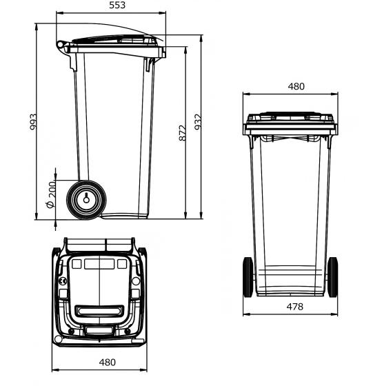 Pojemnik na śmieci MGB 120 ESE (niebieski)