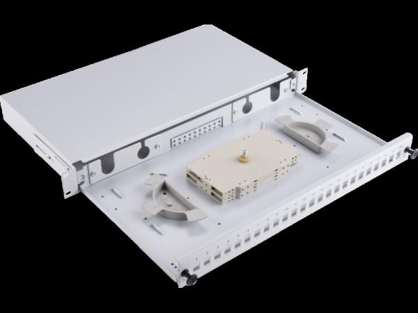 """Przełącznica 24xSC simplex /24xLC duplex19"""" 1U z płytą czołową oraz akcesoriami montażowymi (dławiki, opaski)"""