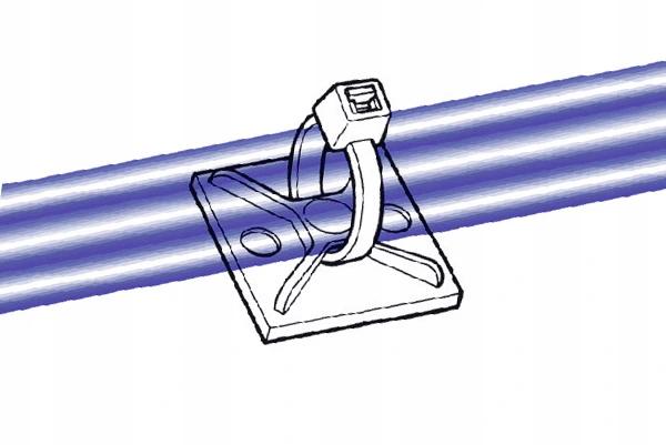 Uchwyt opaski zaciskowej 25x25mm biały 100szt.