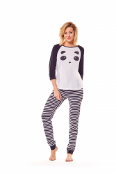 Piżama damska Henderson Milky 36168-01X Biało-czarna