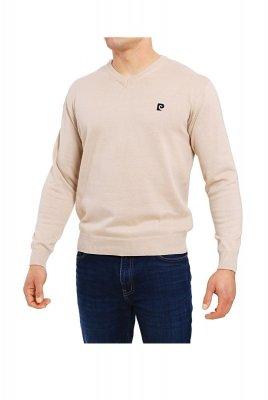 Sweter V-Logo beżowy Pierre Cardin