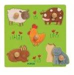 Djeco, drewniane puzzle kształtowe, farma