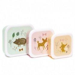 Petit Monkey, zestaw 3 tritanowych lunch boxów, leśni przyjaciele